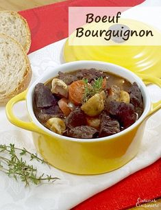 Beef, braised in deep red wine, makes the classic French Boeuf Bourguignon a recipe for the perfect winter comfort food. | www.CuriousCuisiniere.com