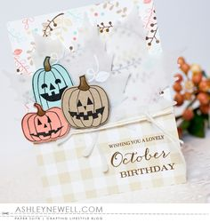 Project by Ashley Cannon Newell for Papertrey Ink Make It Monday - September 2016 - #AshleyCannonNewell # PaperSuite #PapertreyInk - Autumn Pumpkins + Birthday Boutique: October