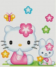 Flower Hello Kitty Cross Stitch Pattern