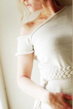 Little White Dress off shoulder unique design merino by LenaFelice