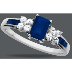 14k White Gold Ring, Blue And White Sapphire Round And Emerald-Cut Ring (1-1/4 Ct. T.W.) ($426) found on Polyvore featuring jewelry, rings, 14k ring, emerald cut sapphire ring, american jewelry, sapphire jewelry and 14 karat gold jewelry