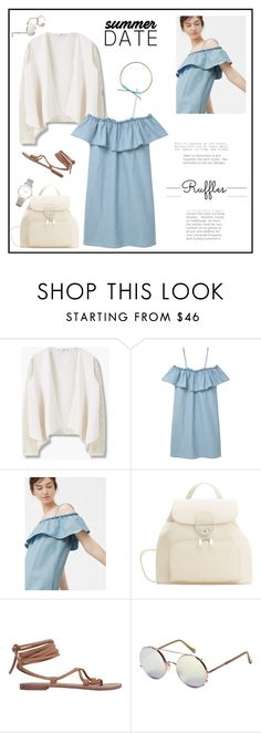 """All Ruffled Up♥♥♥"" by marthalux ❤ liked on Polyvore featuring MANGO, Shashi, Larsson & Jennings, StreetStyle, summertime, ruffles and summer2016"