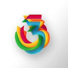 Experimentando con tipografía. Diseño de lettering vectorial.  #design #vectorial #lettering #typography #3 #numbers