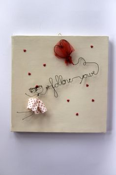Items similar to Canvas with Wire Doll and Writing on Etsy