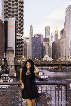 Rebecca Borg: Chicago Photographer | victoria | Chicago Senior Pictures | http://www.rebeccaborg.com senior pictures taken on the bridge in downtown chicago with skyline in background