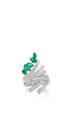 Medium hueb green mirage 18k white gold diamond and emerald ring