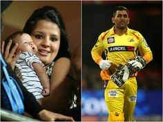 MS #Dhoni and his wife #SakshiDhoni with their daughter Ziva.