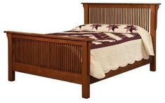 Amish Meadow Mission Bed Settle into comfy and cozy provided by the Meadow Mission Bed. Option to add a low footboard. Choice of platform or standard slats. #bed #bedroom