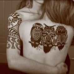 Owl tattoo blackwork