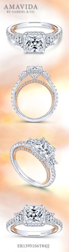 Gabriel & Co.-Voted #1 Most Preferred Fine Jewelry and Bridal Brand. 18k White/Rose Gold Princess Cut 3 Stones Halo Engagement Ring