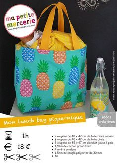 Tuto lunch bag pour pique-nique Plus Lunch Bag Tutorials, Sac Lunch, Bag Essentials, Diy Sac, Couture Sewing, Sewing Projects For Kids, Sewing Tutorials, Blog, Purses
