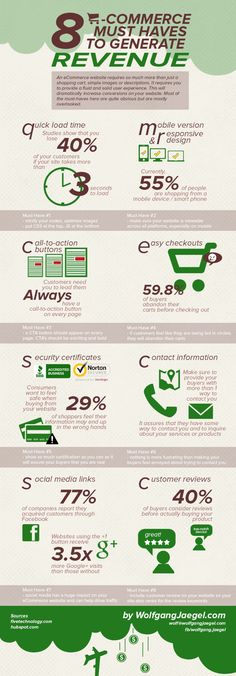 8 E-Commerce Must Haves to Generate Revenue Infographic Digital Marketing Strategy, Marketing Plan, Online Marketing, Social Media Icons, Social Media Marketing, Guerilla Marketing, Street Marketing, Revenue Model, Web Design