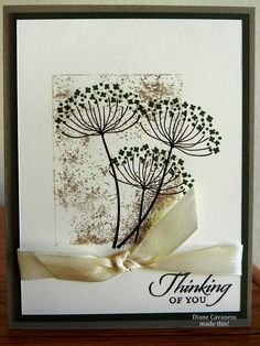 handmade card ... Summer Silhouettes ... almost an Asian feel ... panel of paper pounced in brown ... lacy flower stamped in black ... luv the simple elegance of this card ... Stampin' Up!