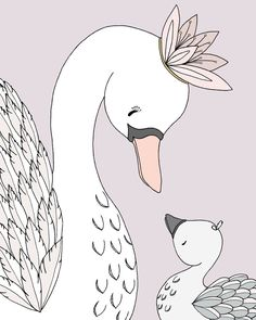Swan Nursery Art - Swan Mama and Baby - My Darling
