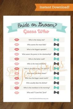 GUESS WHO Instant Download Bridal Shower Game by SayYestothePress