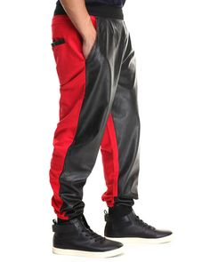 leather/red jog pants