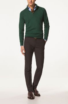 Nice smart casual outfit. Dash of green gives a little something different