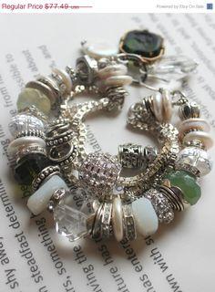 ON SALE chunky charm bracelet, cameo bracelet, vintage bracelet, multi strand bracelet, wedding bracelet