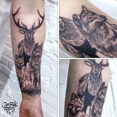 "54 Likes, 2 Comments - Marta Gryzak Smolarek (@gryzakart) on Instagram: ""Wild animals. First session. :) #Gryzak #art #tattoo #tattoos #tattooart #tattoolife #tattooed…"""
