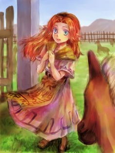 Malon with Epona at Lon Lon Ranch - The Legend of Zelda: Ocarina of Time; fanart
