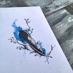 Feather with tree watercolor
