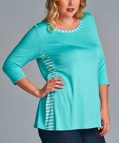 Look what I found on #zulily! Mint Side Stripe Crewneck Tee - Plus by Emerald Fashion #zulilyfinds
