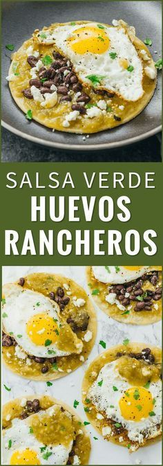 Huevos rancheros are a delicious and healthy Mexican breakfast with fried eggs black beans salsa verde and cheese over corn tortillas. Mexican Brunch, Mexican Breakfast Recipes, Brunch Recipes, Mexican Food Recipes, Vegetarian Recipes, Cooking Recipes, Mexican Eggs, Healthy Recipes, Mexican Salsa