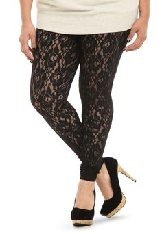 Black Lace Leggings Plus Size