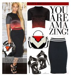 """""""Happy Birthday Beyonce!"""" by arethaman ❤ liked on Polyvore featuring Christian Louboutin, GetTheLook, Stealherstyle, redandblack and happybirthdaybeyonce"""
