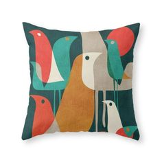 Society6 Flock Of Birds Throw Pillow Indoor Cover (18' x 18') with pillow insert -- Click on the image for additional details. (This is an affiliate link) #HomeDecorIdeas