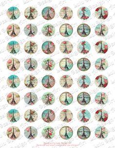 Este listado está para:  -tamaño 1 de la hoja: carta (8,5 x 11 pulgadas), se ajusta a formato A4 con 48 imágenes del círculo (tamaño de círculo de 1 pulgada) -Alta calidad 300 DPI jpeg archivo  Vintage París con adornos florales, ilustraciones. Ideal para tapas de botellas, colgantes de