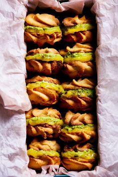 Ginger Viennese Whirl Cookies w/ Matcha Mascarpone Cream + Passion Fruit Curd   Hello My Dumpling