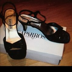 Sparkly Open Toed Heels-🌈 Black beaded open toed satin shoes. Beads are sparkly but small and subtle. Low heel. Worn once in excellent condition. Box included. Caparros Shoes Heels