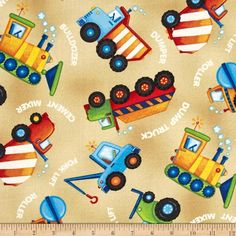 From The Ground Up Trucks Allover Tan from @fabricdotcom  Designed by Viv Eisner and licensed to Wilmington Prints, this cotton print fabric is perfect for quilting, apparel and home decor accents. Colors include shades of blue, red, brown, black, grey and yellow.