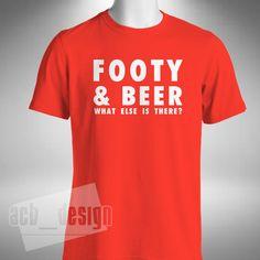 Footy and Beer Mens T-Shirt Funny Football Soccer Gerrard Rooney Messi Ronaldo