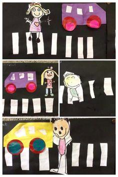 oversteken Preschool Arts And Crafts, Preschool Themes, Fun Crafts For Kids, Cute Powerpoint Templates, Safety Crafts, Transportation Activities, Kids Artwork, Art Plastique, Kids And Parenting
