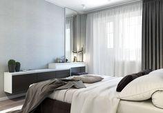 √ 53 Single Bedroom Design Ideas - Home Decorations Trend 2019 Zeitgenössisches Apartment, Modern Apartment Decor, Contemporary Apartment, One Bedroom Apartment, Modern Decor, Apartment Plans, Small House Interior Design, Modern Bedroom Design, Bed Design