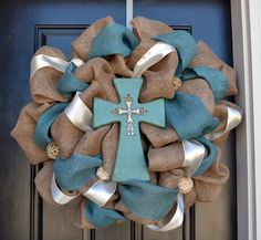 Burlap and Turquoise Cross Wreath  Burlap by CreationsbySaraJane, $100.00