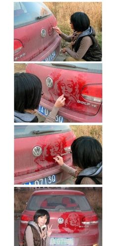 One-finger-drawing-on-a-dirty-car Marylin portrait!