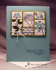 """By Julie Wadlinger. Stamped. Cut pieces to desired sizes. Temporarily stuck them in place on a piece of scrap paper. Embossed in Cuttlebug. Placed them on designer paper """"frame"""" and then on card. Added sentiment."""