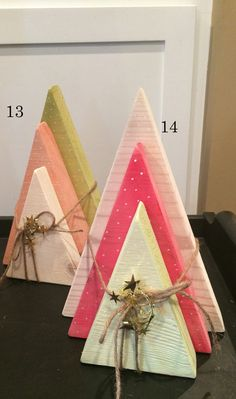 Items similar to 3 Tree Set Modern Minimalist Christmas Holiday Decor Wood Pine Painted Stain tint coral mint green lime white on Etsy – Happy Holidays Christmas Wood Crafts, Christmas Signs Wood, Etsy Christmas, Rustic Christmas, Christmas Projects, Winter Christmas, All Things Christmas, Holiday Crafts, Pallet Christmas