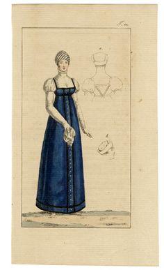 Journal des Luxus und der Moden c.1800 n°10, Empire Blue Dress, Hand-colored engraving
