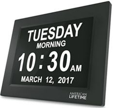 American Lifetime, Newest Version, Day Clock Extra Large Impaired Vision Digital Clock with Battery Backup and 5 Alarm Options, Black Finish Digital Wall, Digital Alarm Clock, Alarm Clocks, Wall Clocks, Correct Time, Laurel, Tabletop Clocks, Thing 1, Days Like This