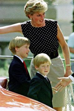 Diana, Princess of Wales with her sons Prince William and Prince Harry.