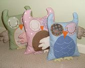 Personalised handmade Owl Cushion by Mamaloops: Perfect gifts for New Baby, Christenings, birthdays and Nursery..