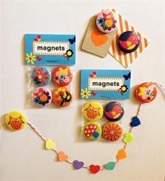 Magnets Flowers and Owls. 25 mm in diameter. Design Sara Vestberg