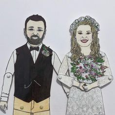 A portrait of a wedding couple & their dog 😊which is heading to Dublin Etsy.com/shop/chunkydumpling #bespoke #portraits #familyportrait #weddinganniversary #paperanniversary #paperdolls #birthdays #handmade #custommade #supportsmallbusiness #supportlocal Deep Box Frames, Sharpie Pens, Paper Anniversary, Pen And Watercolor, Portrait Illustration, Wedding Couples, Family Portraits, Dublin, Paper Dolls