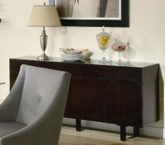 Buffet. $445   Assembled Height 30 inches  Assembled Width 60 inches  Assembled Diameter17 inches.   Server Sideboard Contemporary Style Cappuccino Finish by Coaster Home Furnishings, http://www.amazon.com/dp/B0054H3Z1K/ref=cm_sw_r_pi_dp_MdICqb0NABAGR