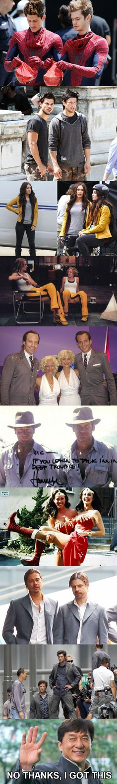 Celebs with their stunt doubles...and then there's Jackie Chan ;) lol