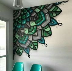 🙌 🏻 🙌 🏻 🙌 🏻 paintings that i would paint in 2019 mural wall art, wall drawing, Wall Art Designs, Paint Designs, Wall Design, Diy Wand, Mandala Mural, Mandala Painting, Diy Wall Decor, Room Decor, Mur Diy